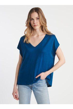 Majestic Women T-shirts - Majestic FTS159 V Neck Wide Linen T-Shirt Indigo