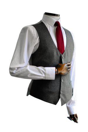 Remus Mario Charcoal Textured Suit Waistcoat
