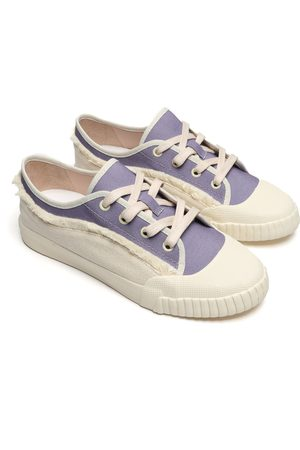 Schutz Women Trainers - White & Lilac Canvas Sneakers
