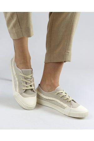 Schutz Off White Canvas Sneakers