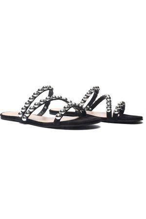 Schutz Women Flat Shoes - Triple Crossover Studded Flats