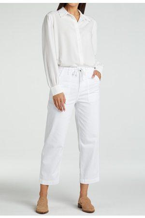 YAYA Cotton blend high waist cargo chino 7/8 length pure white