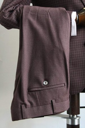 Remus Lazio Burgundy & Grey Trousers