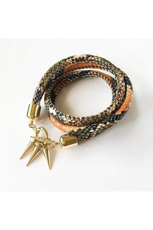 KGW Studio Two-in-one burnt orange snake-effect leather choker-double bracelet