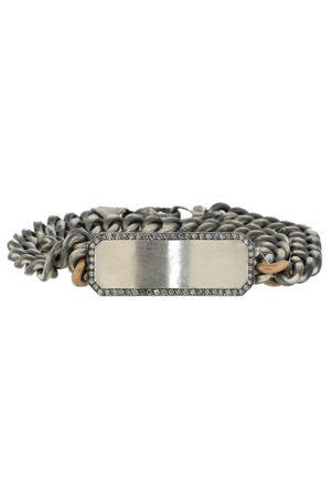 Sylva & Cie Grey Diamond ID Plate Wrap Bracelet