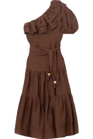 Lisa Marie Fernandez Woman Arden One-shoulder Ruffled Metallic Linen-blend Gauze Maxi Dress Size 0