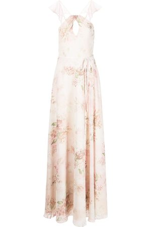 Marchesa Notte Bridesmaids Floral ruffle halter-neck gown