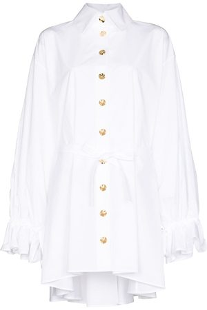 HALPERN Women Casual Dresses - Frilled balloon-sleeve mini shirtdress