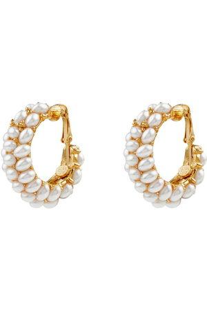 Kenneth Jay Lane Pearl-cluster clip-on hoop earrings