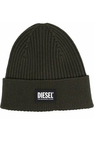 Diesel Logo-patch rib-knit beanie