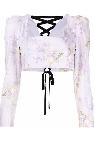 ULYANA SERGEENKO Women Crop Tops - Cropped floral-print blouse