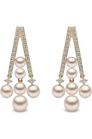 Yoko London 18kt yellow Sleek Akoya pearl diamond drop earrings
