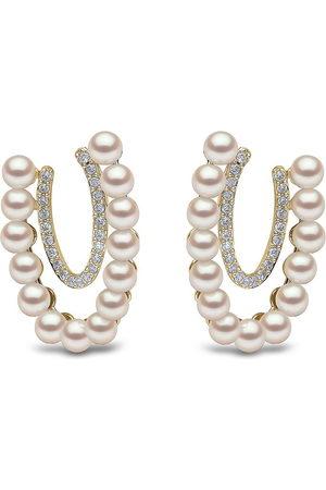Yoko London 18kt yellow Sleek Akoya pearl diamond earrings