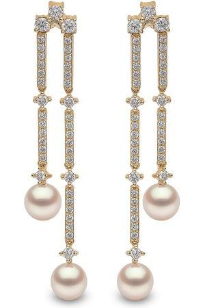Yoko London Women Earrings - 18kt yellow Sleek Akoya pearl diamond drop earrings