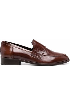 Tila March Women Loafers - Hickory almond-toe leather loafers