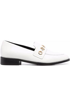 Tila March Oxford eyelet-embellished leather loafers