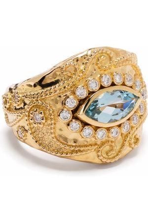 Aurélie Bidermann 18kt yellow Cashmere aquamarine and diamond ring