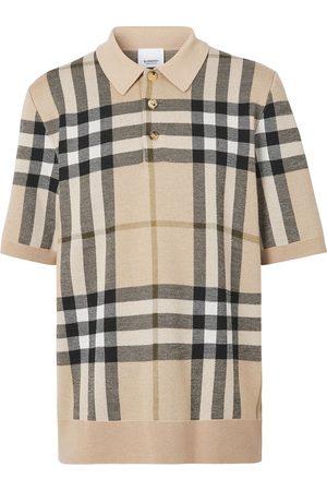 Burberry Check jacquard knitted polo shirt
