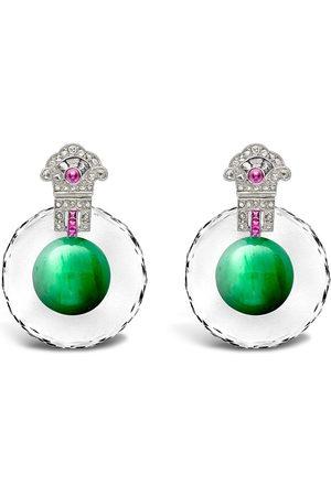 Pragnell Vintage 18kt white gold Art Deco jadeite, diamond and ruby drop earrings