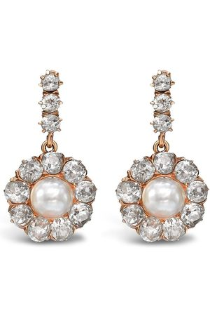 Pragnell Vintage 18kt rose gold Victorian pearl and diamond earrings