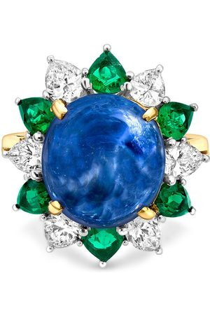 Pragnell Vintage 18kt yellow and platinum retro sapphire, diamond and emerald ring