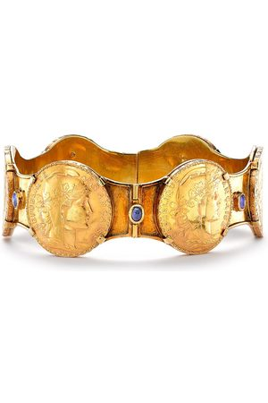 Pragnell Vintage Women Jewellery - 18kt yellow Edwardian French sapphire coin bangle