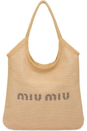 Miu Miu Logo-print tote bag - Neutrals