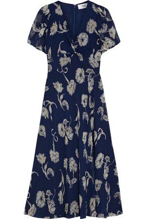 Diane von Furstenberg Woman Leilah Twist-front Floral-print Silk-chiffon Midi Dress Navy Size 4