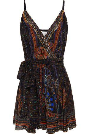 Camilla Woman Embellished Printed Silk Crepe De Chine Mini Wrap Dress Size L