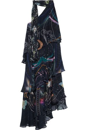 Camilla Woman One-shoulder Tiered Tie-neck Printed Silk-chiffon Midi Dress Midnight Size L