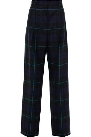 Paul Smith Woman Checked Wool-crepe Wide-leg Pants Navy Size 38