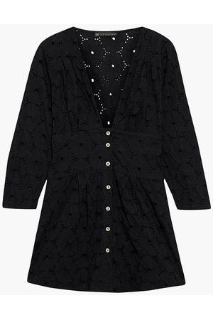 VIX PAULA HERMANNY Woman Ana Gathered Broderie Anglaise Cotton Tunic Size L