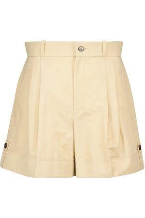 Chloé High-rise linen and cotton shorts
