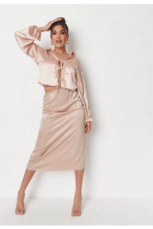 Missguided Satin Tie Waist Midi Slip Skirt