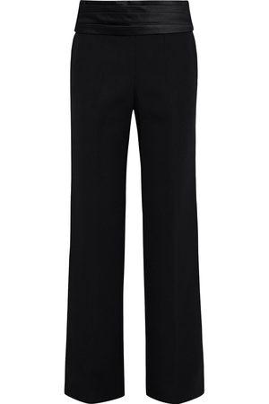 Victoria Beckham Woman Satin-trimmed Wool-gabardine Straight-leg Pants Size 10