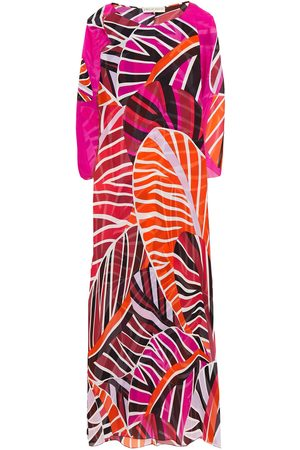 Emilio Pucci Woman Cape-effect Printed Silk-voile Midi Dress Magenta Size 38