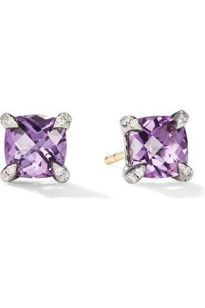 David Yurman Women Earrings - 6mm sterling silver Chatelaine amethyst and diamond stud earrings