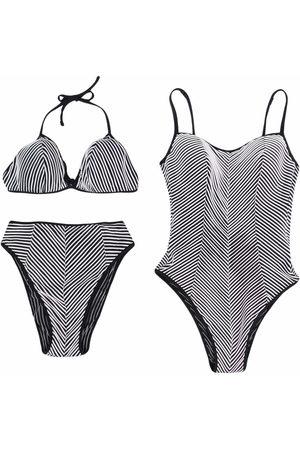 Gianfranco Ferré Pre-Owned 1990s striped swimsuit and bikini set