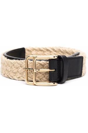 Gianfranco Ferré 2000s woven double-buckle belt - Neutrals