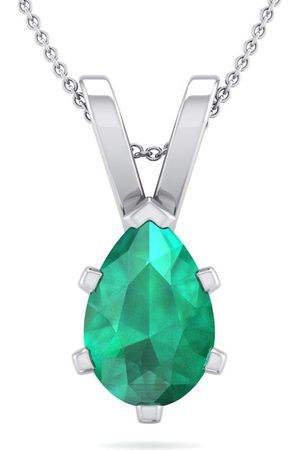 SuperJeweler 1 Carat Pear Shape Emerald Necklace in Sterling , 18 Inches