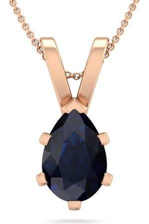 SuperJeweler 1.5 Carat Pear Shape Sapphire Necklace in 14K Rose Over Sterling Silver, 18 Inches