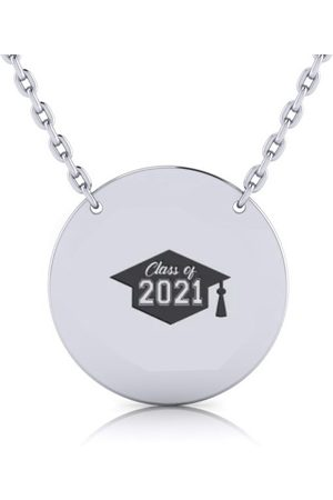 SuperJeweler Sterling Disc Necklace Free Graduation Image & Custom Engraving, 18 Inches