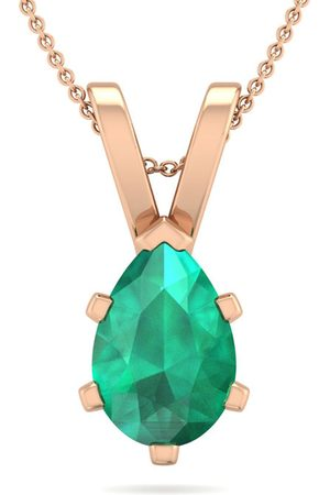 SuperJeweler 1 Carat Pear Shape Emerald Necklace in 14K Rose Over Sterling Silver, 18 Inches