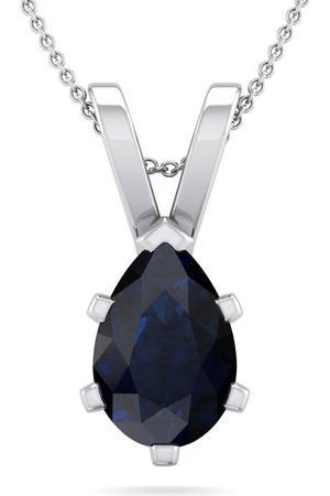 SuperJeweler 1.5 Carat Pear Shape Sapphire Necklace in Sterling , 18 Inches