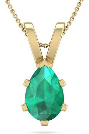 SuperJeweler 1 Carat Pear Shape Emerald Necklace in 14K Over Sterling Silver, 18 Inches