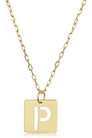 """SuperJeweler """"P"""" Initial Necklace in 14K , 16-18 Inches"""