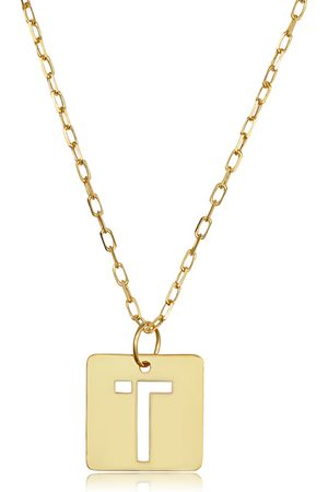 """SuperJeweler """"T"""" Initial Necklace in 14K , 16-18 Inches"""