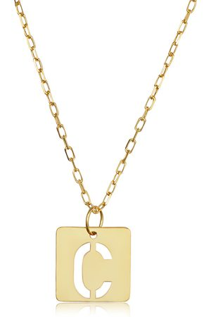 """SuperJeweler """"C"""" Initial Necklace in 14K , 16-18 Inches"""