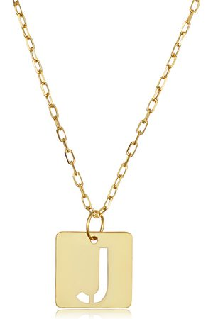 """SuperJeweler Women Necklaces - """"J"""" Initial Necklace in 14K , 16-18 Inches"""