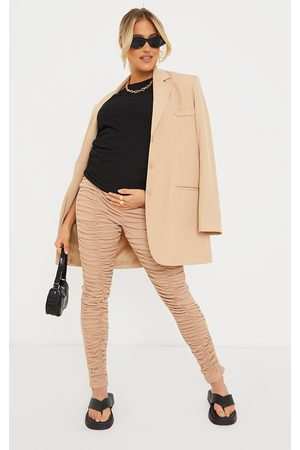 PRETTYLITTLETHING Maternity Stone Ribbed Ruched Over Bump Leggings